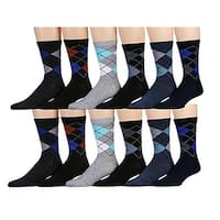 Excell Mens Patterned Stylish Cotton Blend Pack-C Dress Socks - 12