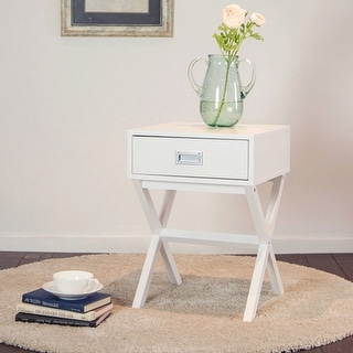 Link to Glitzhome Modern Shape X Side Table With Drawer Similar Items in Living Room Furniture