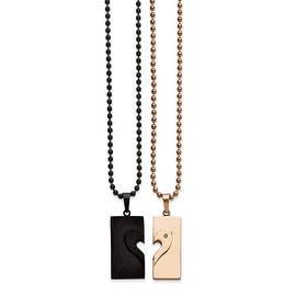Chisel Stainless Steel Black IP-plated & Pink IP-plated Necklace Set