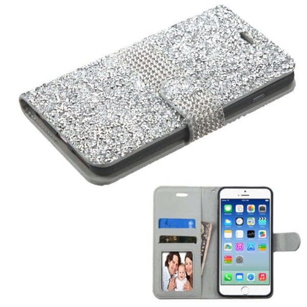 Insten Folio Flip Rhinestone Diamond Bling Leather Wallet Flap Pouch Case Cover For Apple iPhone 6/ 6s