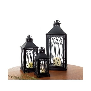 "Set of 3 Country Bistro Black Pagoda Style Roof Pillar Candle Lanterns 24"" - N/A"