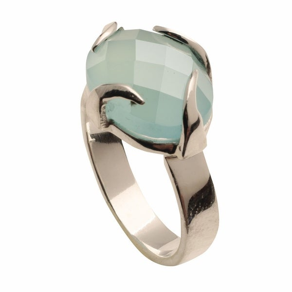 Women's Aqua Chalcedony Sterling Ring - Silver