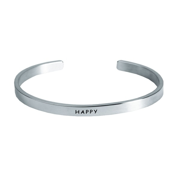 "Women's ""I Am"" Engraved Stainless Steel Stacking Bangle Bracelet - Happy"