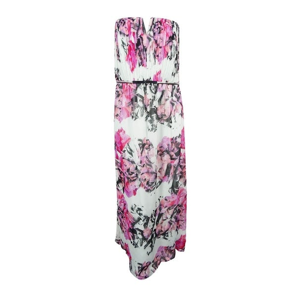 da3a3ddd70cdc Shop City Chic Women s Plus Size Strapless Floral-Print Belted Gown ...