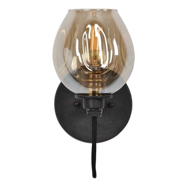 "10.75"" Pre-lit Fritz 1 Light Gold Glass Sconce - N/A"