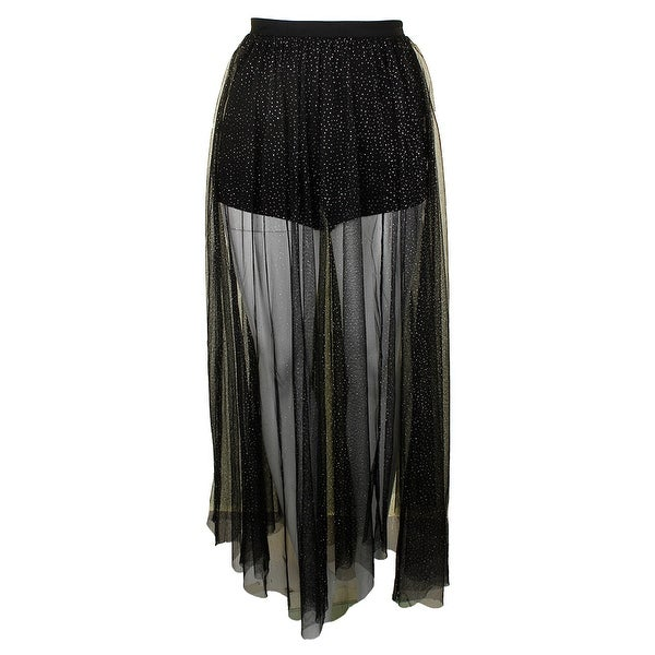 603ed880686df Shop Free People Black Metallic Brightest Star Sheer Mesh Maxi Skirt ...