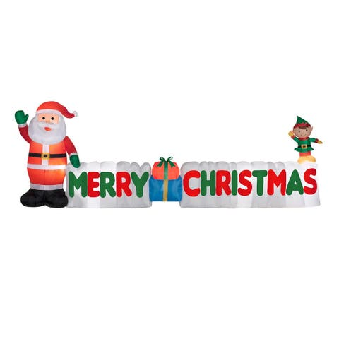 """12' Green and Red """"Merry Christmas"""" Sign Inflatable Outdoor Christmas Decor"""