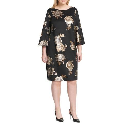 Jessica Howard Womens Plus Wear to Work Dress Metallic Floral Print - Black/Gold