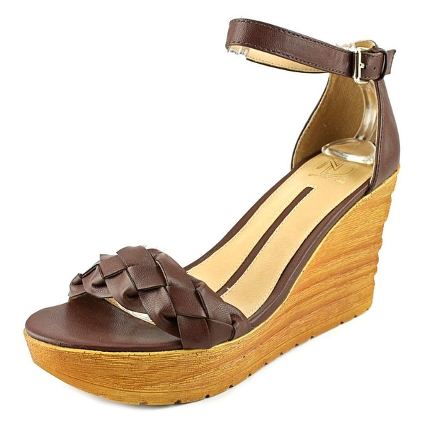 New Directions Spruce Braid Women Open Toe Synthetic Brown Wedge Sandal