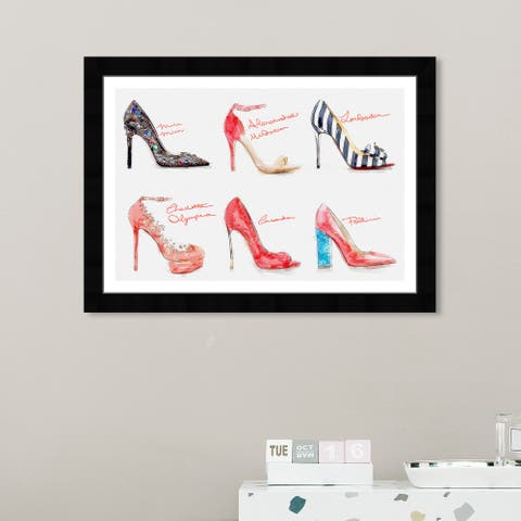 Wynwood Studio 'Spring 2014 Heels I' Fashion and Glam Wall Art Framed Print Shoes - Red, White