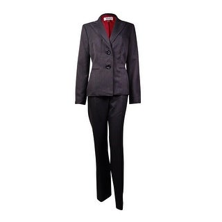 Le Suit Women's Prague Pinstripe Pant Suit (8, Charcoal Multi) - 8
