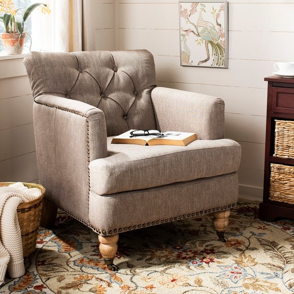 """Safavieh Manchester Taupe Tufted Club Chair - 28"""" x 34.4"""" x 32.7"""". Opens flyout."""