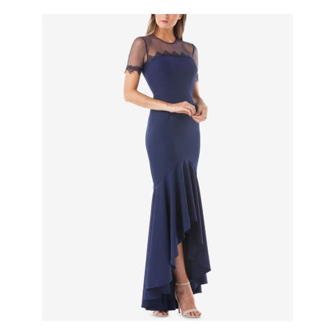 JS COLLECTION Navy 3/4 Sleeve Full-Length Dress 2
