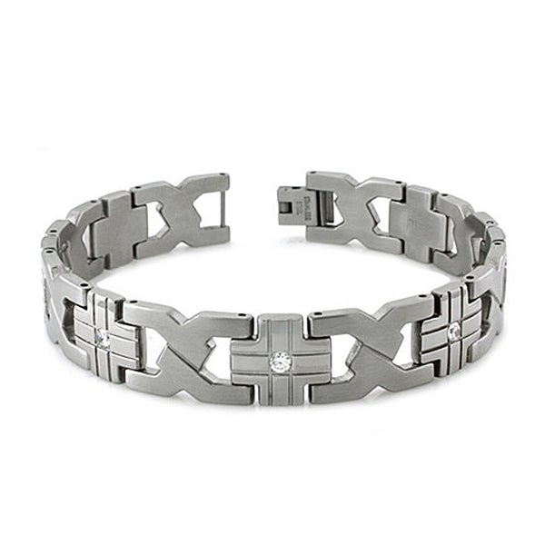 Stainless Steel Cubic Zirconia X Link Bracelet - 8.5 inches