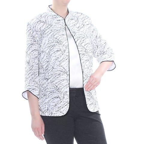 ALEX EVENINGS Womens White Foiled Print Jacket Plus Size: 3X