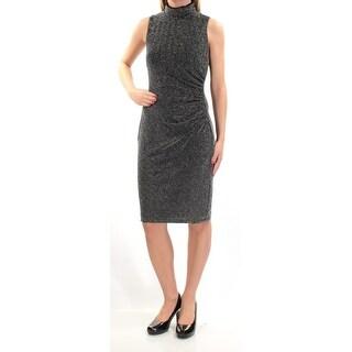 RALPH LAUREN Womens Black Chevron Sleeveless Turtle Neck Above The Knee Party Dress Size: 2