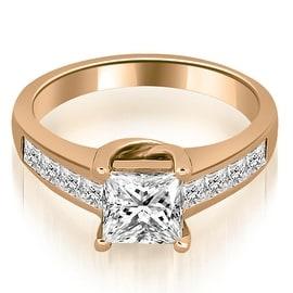 1.00 cttw. 14K Rose Gold Channel Princess Cut Diamond Engagement Ring
