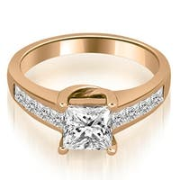 1.00 cttw. 14K Rose Gold Channel Princess Cut Diamond Engagement Ring