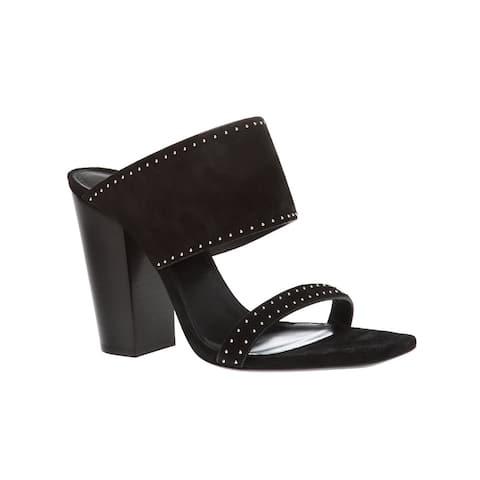 Saint Laurent Women's Leather Oak Suede Mule Sandals Black