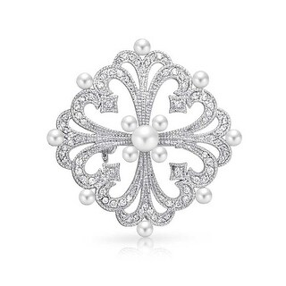 Bling Jewelry Imitation Pearl CZ Vintage Style Brooch Pin Rhodium Plated