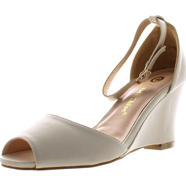 Chase & Chloe Meadow-1 Women's Peep Toe Ankle Strap Wedge Sandals - Nude