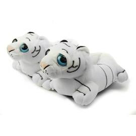Fuzzy White Tiger Slippers Youth Medium
