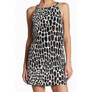 Trina Turk White Womens Animal-Print Sheath Dress