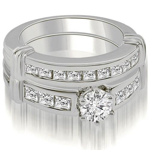 1.90 cttw. 14K White Gold Vintage Round Cut Diamond Bridal Set