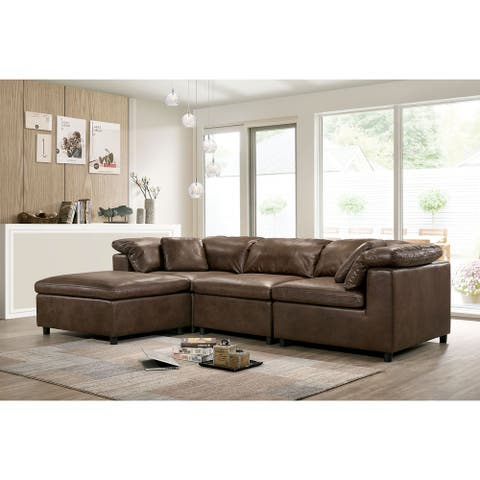 Furniture of America Keats Contemporary Faux Leather Brown 4-Piece Sectional