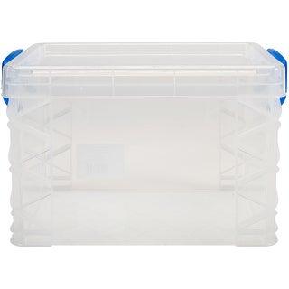 "Storage Studios Super Stacker Storage Box-10.12""X7.5""X6.5"" Clear/Blue Handles"