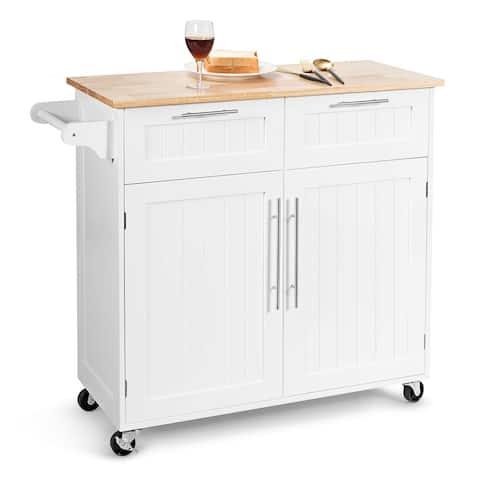 Costway Rolling Kitchen Cart Island Heavy Duty Storage Trolley Cabinet