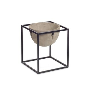 10.5 Fossil Gray and Midnight Black Medium Round Cement Pot with Metal Stand