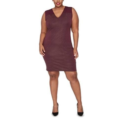 Rachel Rachel Roy Women's Dress Red Size 2X Plus Shift Studded V-Neck