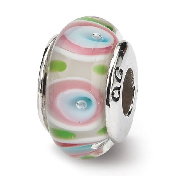 Sterling Silver Reflections Multi Hand-blown Glass Bead (4mm Diameter Hole)