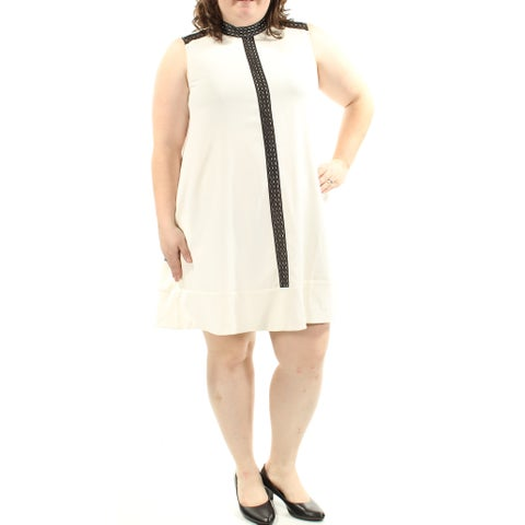 Womens Ivory Black Sleeveless Above The Knee Shift Casual Dress Size: 2X