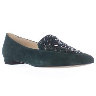 Nine West Akeelah Washer Studded Pointed Toe Loafer Flats - Dark Green