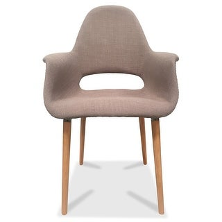 2xhome  Mid Century Modern Upholstered Fabric Chair with Light brown Natural Wood Legs Padded Cushion For Kitchen Arms Desk (Beige)