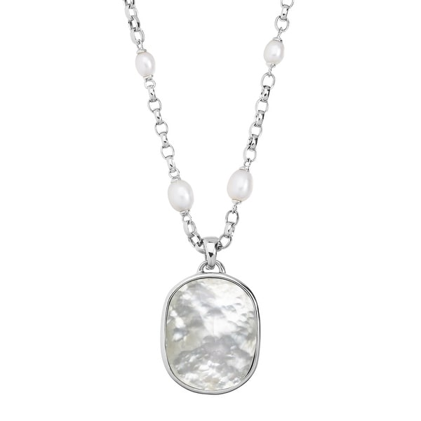 Honora Oval Freshwater Pearl Necklace with Mother-of-Pearl Doublet Enhancer in Sterling Silver