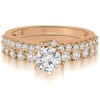 1.40 cttw. 14K Rose Gold Classic Basket Round Cut Diamond Bridal Set