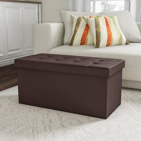 Lavish Home Folding Storage Bench Ottoman  30 Faux Brown Leather-Foam Padded Lid - Removable Bin-Organizer