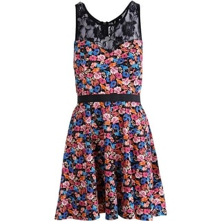 Material Girl Womens Juniors Floral Print Lace Party Dress - M