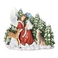 "Pack of 2 Angel Playing Harp for Wolf and Deer Christmas Tabletop Figure 9.5"" - RED"