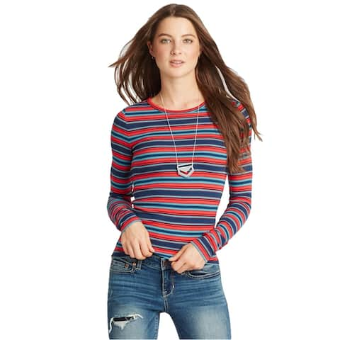 Aeropostale Womens Striped Ribbed Graphic T-Shirt