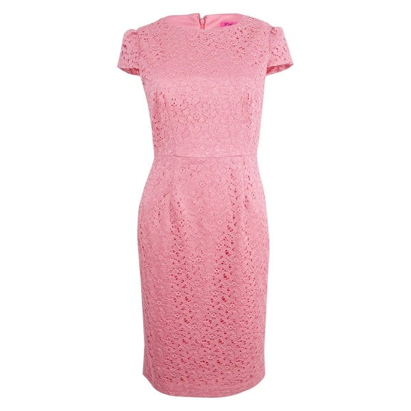 c5dea4fa7971f Shop Betsey Johnson Women's Cap-Sleeve Lace Sheath Dress - Coral - On Sale  - Free Shipping Today - Overstock - 21855066
