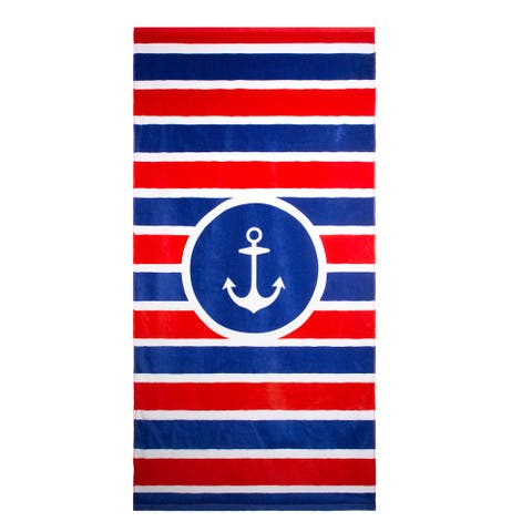 Outdoor Living Patriotic Beach Towel 3 Pack Set in Anchor