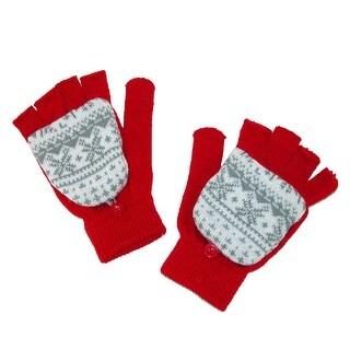 Aquarius Kids' Fairisle Print Convertible Mitten Fingerless Gloves - Red - One Size