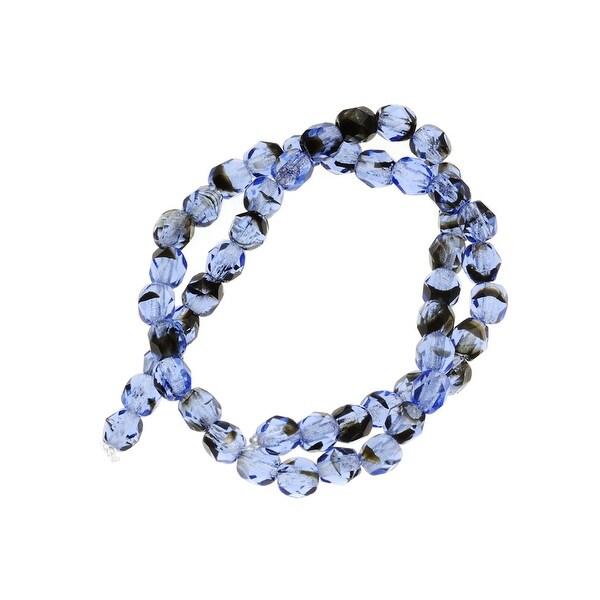 Czech Fire Polished Glass Beads 4mm Round Sapphire Tortoise (50)