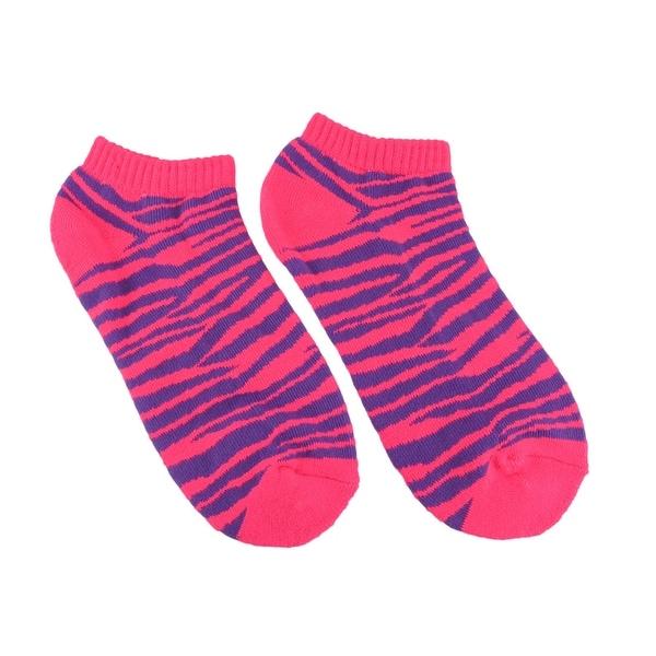 Women`s Fluorescent Pink and Purple Zebra Heavy Ankle Socks