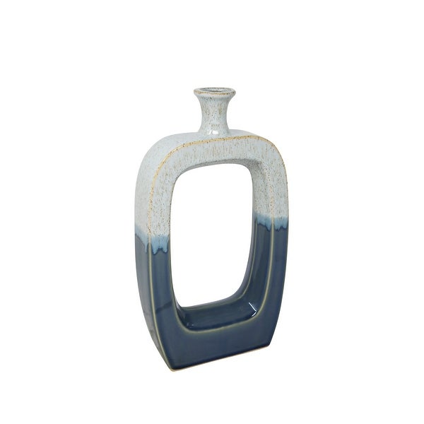 Modern Style Ceramic Vase with Cutout Center, Small, Blue and White