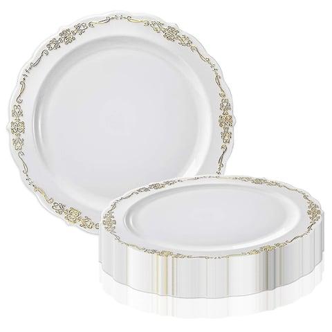 Vintage Rim Round Disposable Plastic Plate Packs - Party Supplies